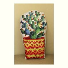 Almofada Cactus Vaso Laranja com Enchimento