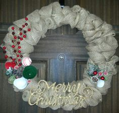16 Christmas Burlap Wreath by MrsChicBoutique on Etsy, $45.00