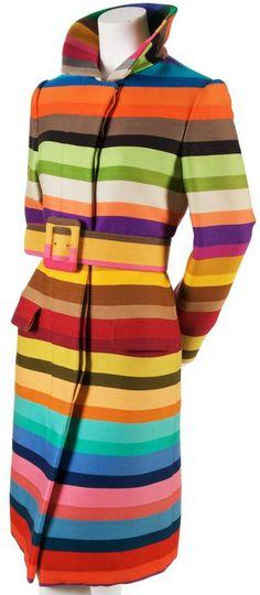 Manteau - Lainage à Rayures Multicolores - Donald Brooks - Années 60