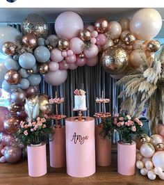 pink and gold party decor. Great for a birthday, bachelorette, bridal, or even a baby shower. Baby Shower Decorations, Wedding Decorations, Parties Decorations, Baby Decor, Baby Shower Pink, 18th Birthday Party Ideas Decoration, Sweet Sixteen Decorations, Sweet Sixteen Themes, Baby Shower Table Set Up