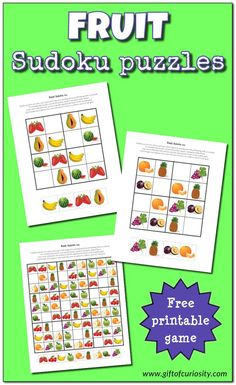 My Fruit Sudoku Puzzles challenge children's critical thinking skills while enticing them to enjoy a wonderful variety of fruits. Sudoku Puzzles, Puzzles For Kids, Worksheets For Kids, Logic Puzzles, Nutrition Tracker App, Science Activities For Kids, Nutrition Activities, Nutrition Education, Food Nutrition