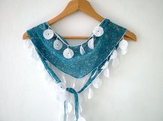 Teal Green Scarf  Floral Cotton Scarf Lightweight by fizzaccessory, $14.00