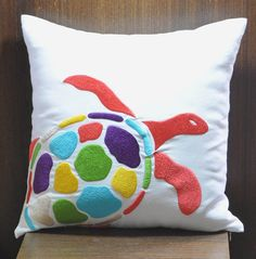 Sea Turtle  Decorative Pillow 18 x 18, White Linen with Colorful Sea Turtle Embroidery, Beach Pillow, Cottage Pillow, Couch Pillow