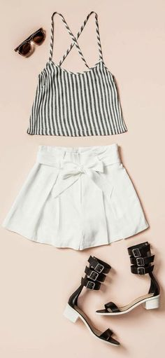 Striped top and white skater skirt