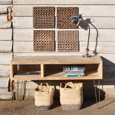 Rustic Industrial Box Console Table made from reclaimed timbers with Hair Pin legs.  Makes an amazing TV table.  Available from Homebarn UK