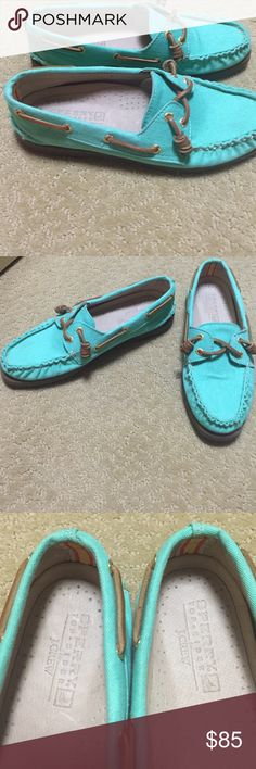 Sperry's, J.Crew line, mint, curled ties, 7.5 Very lightly worn mint green Sperry boat shoes. Sperry Top-Sider Shoes Flats & Loafers