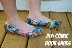 comic book shoes - not technically sewing, but still a cool project