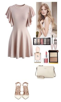 """""""Date time"""" by eliza-redkina ❤ liked on Polyvore featuring Chicwish, Valentino, Kate Spade, Tom Ford, Maybelline, Clinique, H&M, outfit, like and look"""