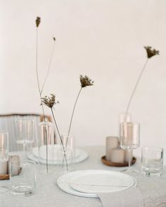 Table Setting - Table Set up - Dining - Dining Table - Table Decoration - Sweet and simple bud vases. Modern Minimalist Wedding, Minimal Wedding, Minimalist Chic, Trendy Wedding, Elegant Wedding, Modern Bridal Jewellery, Sweet Woodruff, Wedding Table Settings, Table Wedding