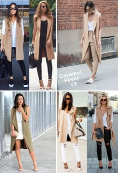 Vest camel for half-time. Casual Hijab Outfit, Long Vest Outfit, Blazer Outfits, Sleeveless Blazer Outfit, Sleevless Blazer, Cute Fall Outfits, Chic Outfits, Spring Outfits, Trendy Outfits