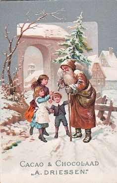 Victorian Christmas card published by W. Vintage Christmas Photos, Old Christmas, Old Fashioned Christmas, Christmas Scenes, Victorian Christmas, Retro Christmas, Christmas Pictures, Christmas Greetings, Father Christmas