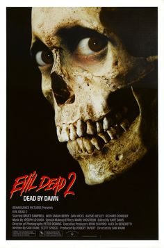 """""""After a relaxing cabin vacation doesn't go as planned, Ash is left with three dead friends, an undead girlfriend and an angry evil spirit on the loose. As nightfall approaches, Ash must prepare to again battle the legions of the damned if he wants to make it to dawn."""" Find EVIL DEAD 2 in our catalog: http://highlandpark.bibliocommons.com/item/show/2196004035_evil_dead_ii"""