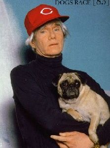 Andy Warhol with Truman Capote's pug, Maggie.