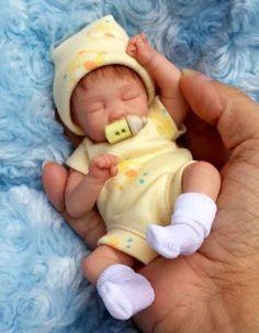 Dawn McLeod: Miniature toy OOAK hand SCULPTED newborn BABY BOY clay ART doll