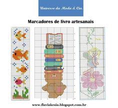 Gráficos de marcadores de livros para bordar em ponto cruz, no blog Universo da Moda & Cia.