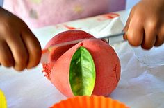 cutting apple play dough