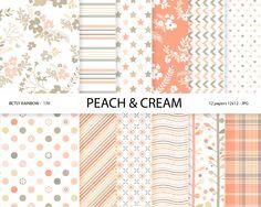 Peach Digital Paper pack Digital paper Coral Floral paper 12 digital papers in peach tones - BR 170 #Pink #Wedding #PinkWedding #Paper
