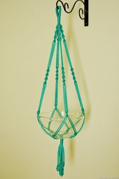 Hand Crafted Macrame Plant Hanger- Turquoise