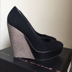 """Steven by Steve Madden Suede & Faux Python Wedges Style name: Cathi wedges; Note: size 7 but fits like a 7.5. Heel height 5.25""""; Black suede with gray faux python and black leather wedge heel; minor scuff on right toe. Unfortunately, I have to say goodbye to these comfy wedges as they do not fit following my pregnancy. Please check out my other listings! Steven by Steve Madden Shoes Wedges"""