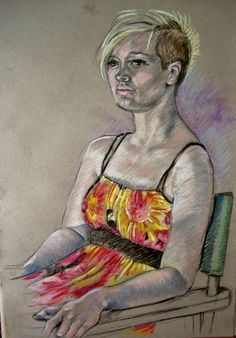Portrait sketch  Chalk on Paper  by P Downing