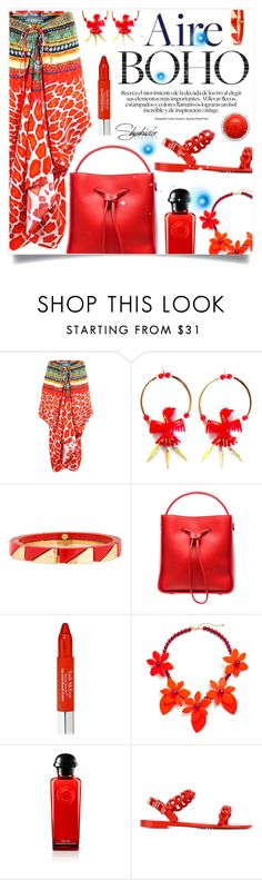 """""""Shahida Parides short lace up kaftan dress in red jaguar print"""" by captainsilly ❤ liked on Polyvore featuring Patricia Nicolas, Tory Burch, 3.1 Phillip Lim, Trish McEvoy, Givenchy, polyvoreeditorial, polyvorestyle, polyvorefashion and ShahidaParides"""