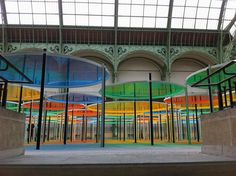 """Monumenta 2012 - Artist Daniel Buren plants a forest of candy-colored sunshades for """"Exentrique(s), travail in situ"""" at the Grand Palais Installation Art, Art Installations, Daniel Buren, Commercial Design, French Artists, Thought Provoking, Les Oeuvres, Cool Designs, Hunting"""