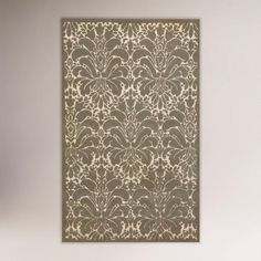 Love this gray and white damask pattern wool rug.