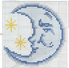Outer space moon cross stitch.