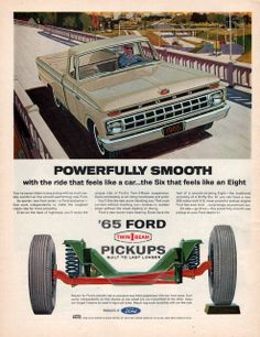 1965 Ford Twin I Beam pickup truck print ad Powerfully by Vividiom, $9.00