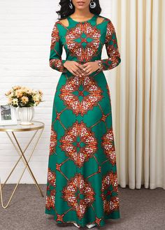 Women'S Green Tribal Print Long Sleeve High Waisted Dress Muslim Maxi Evening Party Dress By Rosewe High Waist Long Sleeve Tribal Print Dress Latest African Fashion Dresses, African Print Dresses, African Dresses For Women, African Attire, Women's Fashion Dresses, Ankara Fashion, Modern African Dresses, Fashion Styles, Ankara Dress Styles