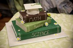 Graduation Book Cake | Graduation Books Cake. Just change the colors of the books to black, blue, and purple.