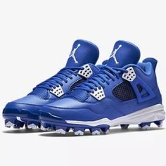 new arrival 22d80 9abd1 Nike Air Jordan Retro IV MCS Adult Baseball Cleat - Royal
