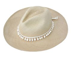 162 Sensi Studio handwoven true Panama hat with pom pom band detail. 221f7abc0d5d