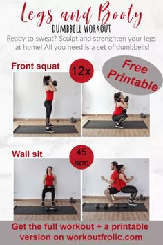 Legs and Glutes Dumbbell Workout - WorkoutFrolic