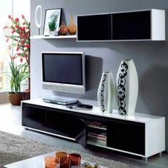 Mueble de salón para tv blanco/negro