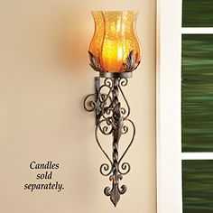 Bronze Elegant Scrollwork Decorative Hurricane Amber Glass Candle Holder Sconce Metal Vintage Style Decorative Home Accent Decoration