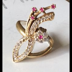 """Sterling Silver Ruby  Ring Size 8 Beautiful elegant 925 Sterling Silver and bronze, Ruby Topaz Ring 6.17 Grams, Head size is 0.44"""", Ring Size is 8. Turkish style Jewelry Rings"""