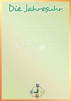 """Kindergarten Portfolio Vorlage """"Die Jahresuhr"""""""