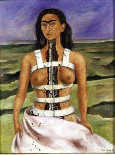 Frida Kahko - Strzaskana kolumna  więcej tutaj: http://mechanicznakulturacja.tumblr.com/post/116193602971/niedziela-ze-sztuka