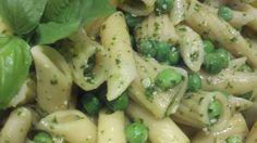 "Basta Pesto Pasta Salad - ""Basta"" means ""enough"" in Italian. You won't want to stop! LOL"