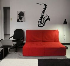 SAXOPHONE MUSIC INSTRUMENT CUTE WALL VINYL STICKER DECALS ART MURAL T308