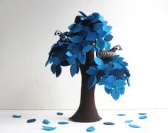 Blue Weeping willow with a family of birds  Felt Tree by Intres, $55.00