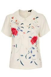 Embroidered Floral Collar Tee
