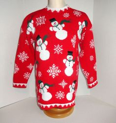 Are you planning that Ugly Christmas Sweater party this year??  Here's one for you.... Ship 'N Shore Womens Ugly Christmas Sweater Size Medium with Snowmen and Snowflakes. #womensclothing #fashion