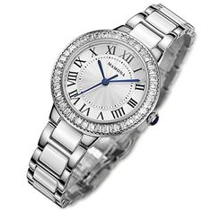 MAMONA Womens Quartz Watch Crystal Accented Ceramic and Stainless Steel White and Silver L68008SR ** You can get more details by clicking on the image.Note:It is affiliate link to Amazon.