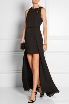 Halston Heritage | Belted chiffon and stretch-jersey gown | NET-A-PORTER.COM