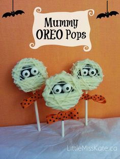 Halloween Treats Mummy Oreo Pops recipe - these would be cute desserts for a Halloween party!