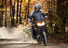 Most V-Strom owners don't venture off-road, but the bike is well-suited for groomed dirt and gravel roads! Motorcycle Camping, Cool Bikes, Biking, Roads, Cars And Motorcycles, Offroad, Traveling By Yourself, Purpose, Survival