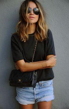 Denim shorts on fashion blogger