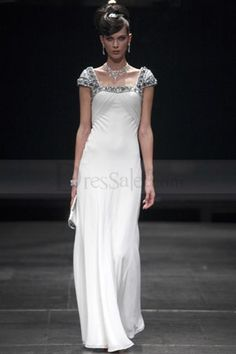 Stylish Chic Square Neckline Evening Gown with Capped SleevesF1ZL243515